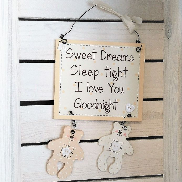 50% off Teddy Baby Hanging Plaque - Sweet Dreams